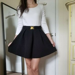 Skater style dress w/ buckle belt
